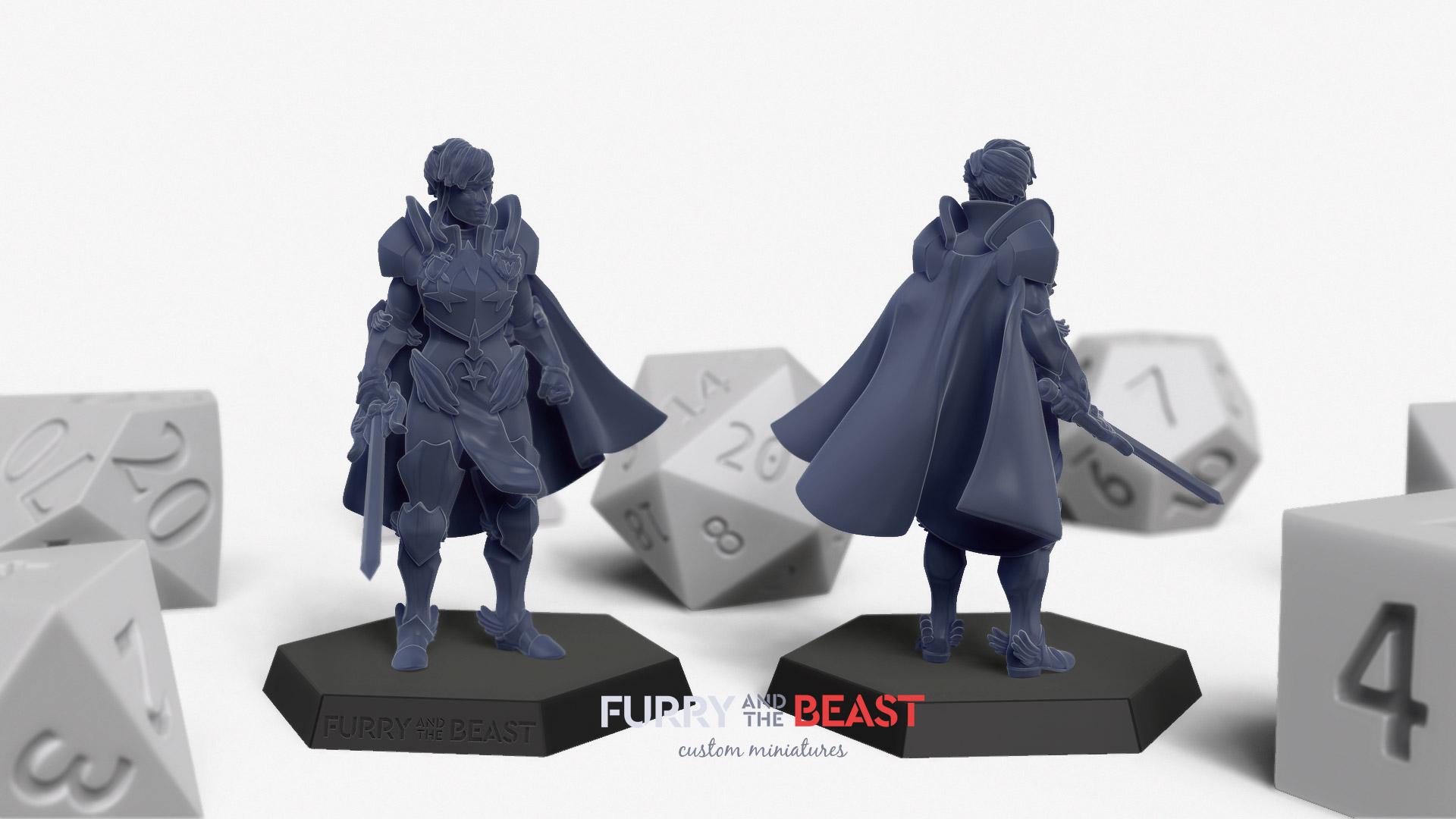 Female armored paladin custom made miniature