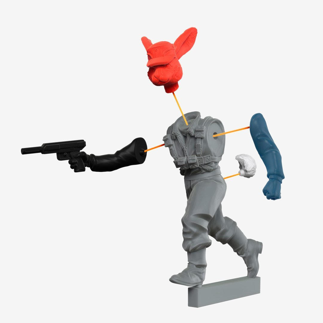 arms body, head and tail with pins. multipart custom rabbit trooper miniature