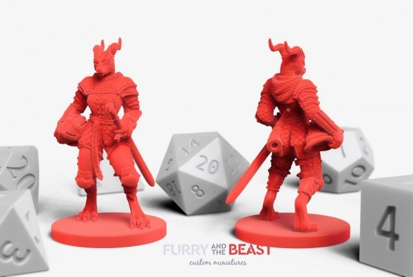 female dragonborn knight soldier custom miniature for dungeons and dragons player