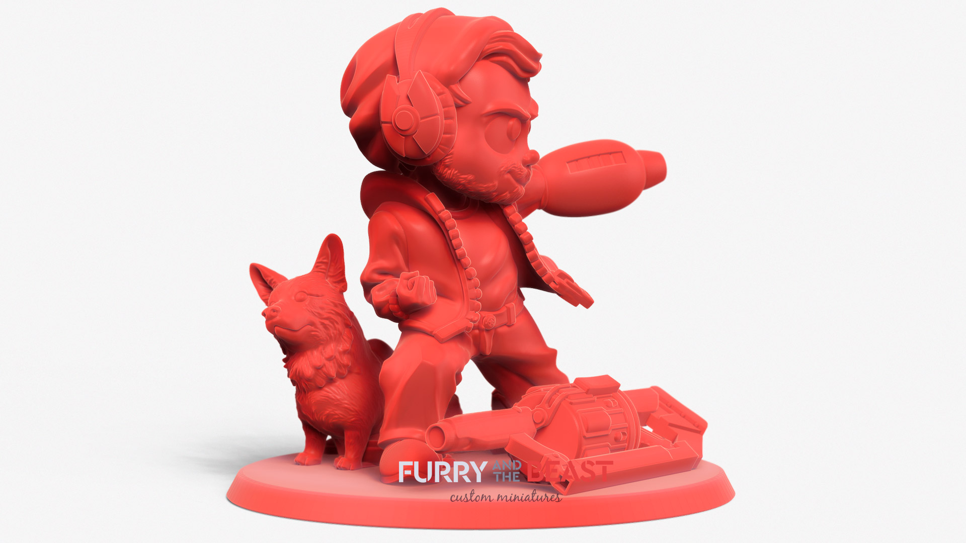 display chibi style figurine custom sculpted with corgy dog