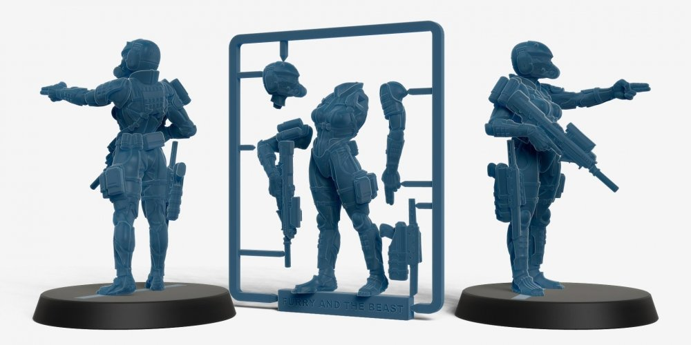 haven trooper female soldier miniature 3d printed in a sprue