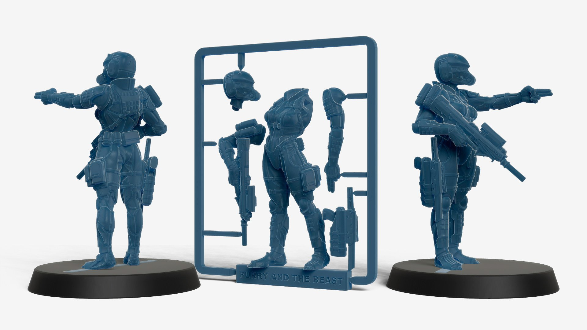 haven trooper female soldier miniature 3d printed in a sprue