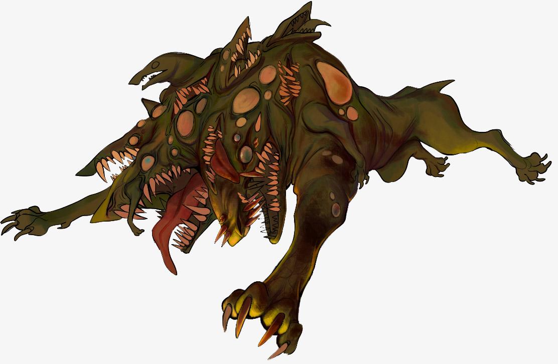 half wolf half lizard monster concept art